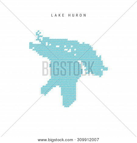 Vector Blue Wave Pattern Map of Lake Huron, One of the Great Lakes of North America. Wavy Line Pattern Silhouette of Lake Huron. stock photo