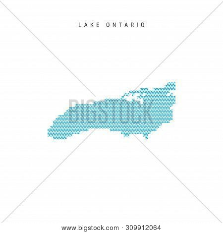 Vector Blue Wave Pattern Map of Lake Ontario, One of the Great Lakes of North America. Wavy Line Pattern Silhouette of Lake Ontario. stock photo