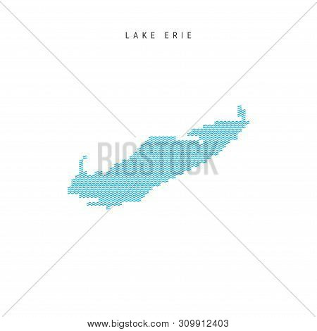 Vector Blue Wave Pattern Map of Lake Erie, One of the Great Lakes of North America. Wavy Line Pattern Silhouette of Lake Erie. stock photo