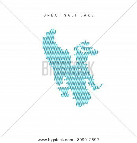 Vector Blue Wave Pattern Map of Great Salt Lake, One of the Lakes of North America. Wavy Line Pattern Silhouette of Great Salt Lake. stock photo