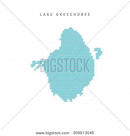 Vector Blue Wave Pattern Map of Lake Okeechobee, One of the Lakes of North America. Wavy Line Pattern Silhouette of Lake Okeechobee. stock photo