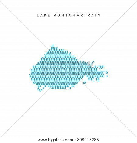 Vector Blue Wave Pattern Map of Lake Pontchartrain, One of the Lakes of North America. Wavy Line Pattern Silhouette of Lake Pontchartrain. stock photo