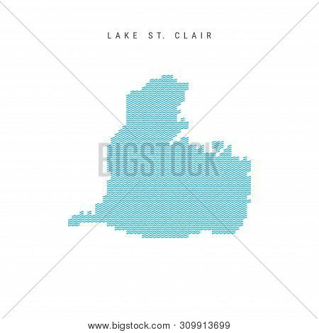 Vector Blue Wave Pattern Map of Lake St. Clair, One of the Lakes of North America. Wavy Line Pattern Silhouette of Lake St. Clair. stock photo