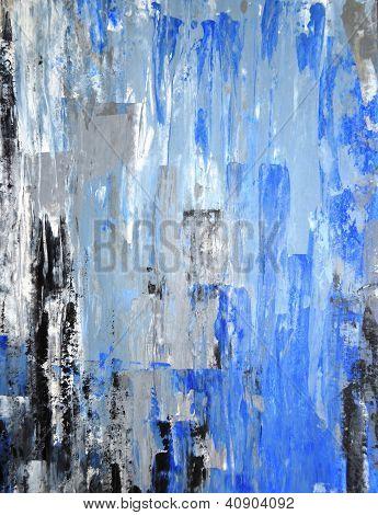 Bleu et gris art abstrait peinture