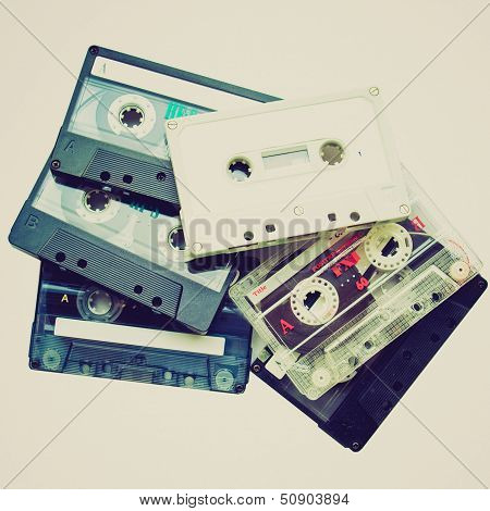 Vintage looking A magnetic audio tape cassettes for music recording stock photo