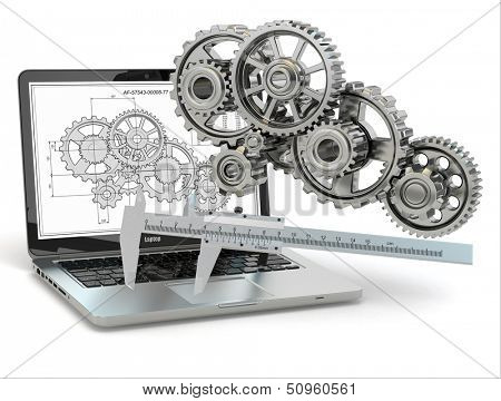 Computer-design engineering. Laptop,  gear, trammel and draft. 3d stock photo
