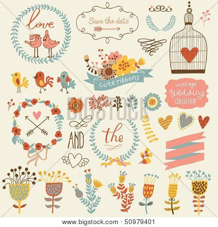 Wedding romantic collection with labels, ribbons, hearts, flowers, arrows, wreaths cage, birds, laur