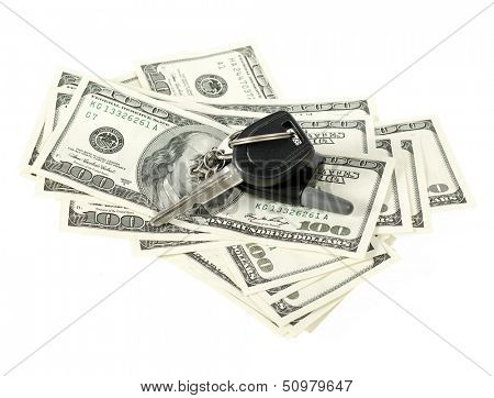 USA dollars with car key isolated on white background stock photo