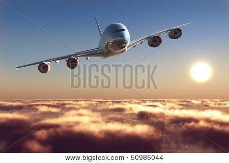 Avion de ligne au-dessus des nuages.