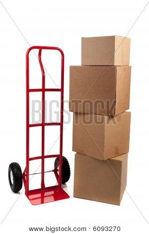 Moving boxes with fragile on a white background stock photo