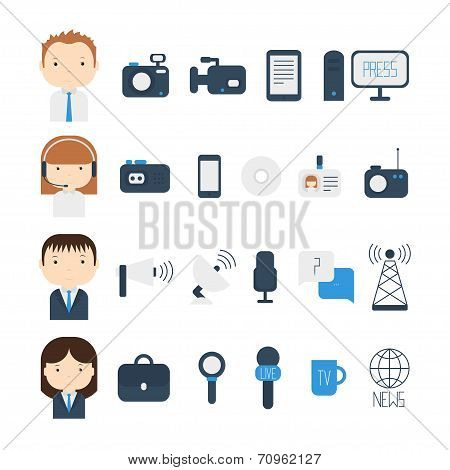 Set of flat colorful vector journalism icons. Mass media. Communication. Illustration consists of computer, news, reporter, camera, microphone, radio. Infographics design web elements. stock photo
