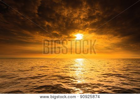 Beautiful seascape evening sea sunset horizon and sky. Tranquil scene. Natural composition of nature. Landscape. stock photo