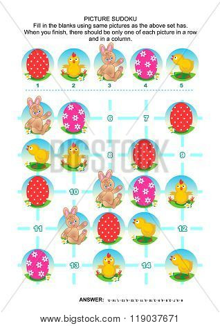 Easter holiday themed picture sudoku puzzle 5x5 (one block). Answer included. stock photo