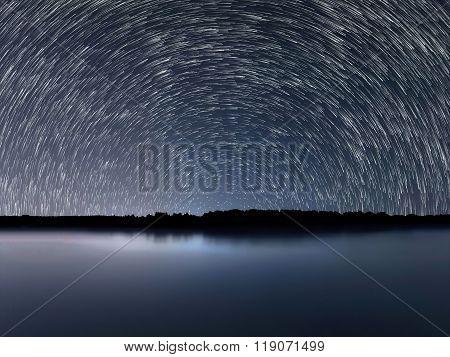 Night Sky, Star Trails, Beautiful Blue Night reflection stock photo