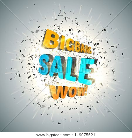 Sale design template vector. Bigbang Sale Poster with explosion cloud of black pieces. Wow. Vector illustration stock photo