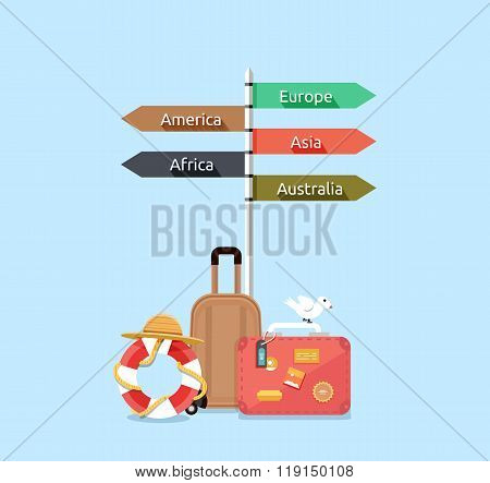 Baggage travel asia america, europe, africa, australia. Travel signpost, direction travel guide, information destination travel, tourism travel way, route travel, guidepost world travel illustration stock photo
