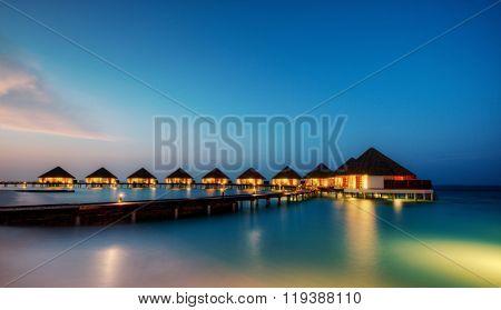 Water villas in hotel resort, Indian ocean, Maldives