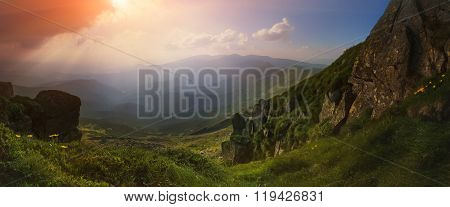 Ukraine. Carpathians. Bright, beautiful sunset with rays in the mountains in summer. stock photo