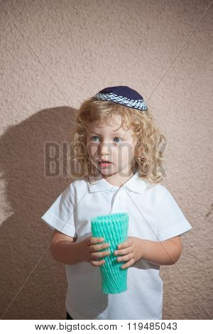 Autumn holiday of Sukkot. Adorable little boy with long blond curls and blue eyes in the Jewish knitted skullcap. He holds the case for the holiday citrus stock photo