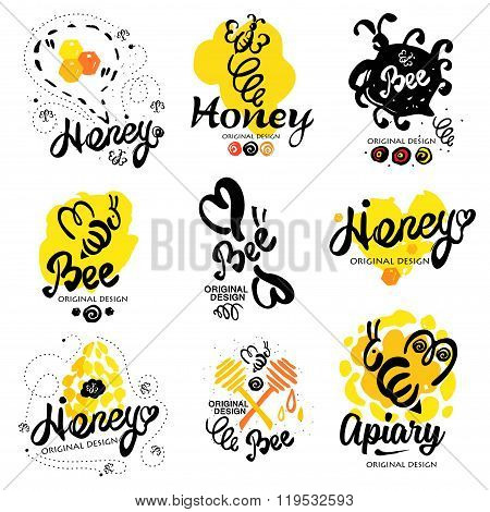Bee logo. Sweet honey logo. Handmade logotype on the theme of beekeeping. Natural bee products. Logos made by hand ink. Yellow spot of honey with the bee logo. Beehive with bees logo.  Honeycomb logo stock photo