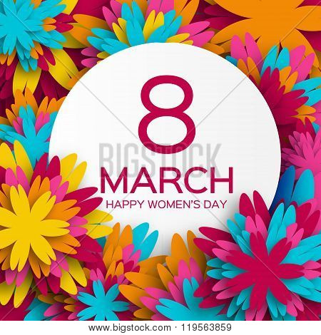 Abstract Colorful Floral Greeting card - International Happy Women\'s Day - 8 March holiday backgroun