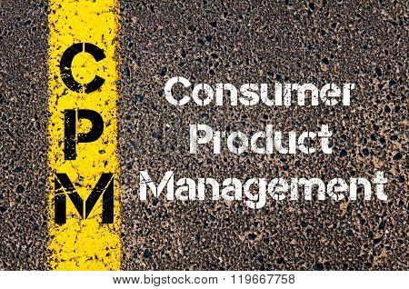 Concept image of Business Acronym CPM Consumer Product Management written over road marking yellow paint line stock photo