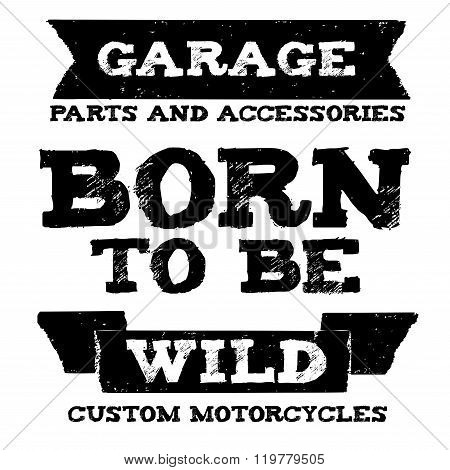 Vector biker quote with motivation phrase Grunge open sourse font stock photo