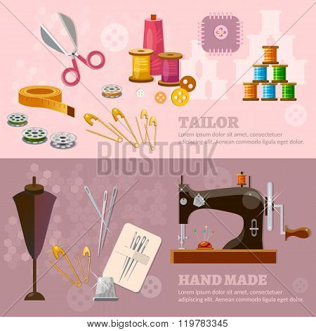 Seamstress and tailor banners sewing machine tailoring clothes production vector illustration stock photo