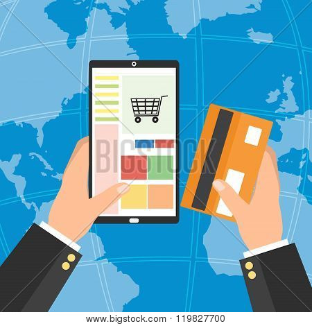Businessman holding tablet smart phone and credit card for online shopping on world map background. Vector illustration mobile payment omnichannel e-commerce concept. stock photo