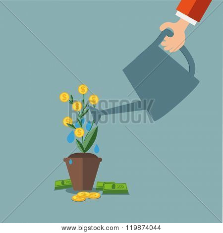 Hand of business person watering money tree. Money growing on tree. Money growth, making money, inve