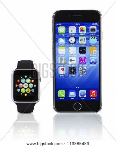 Apple Watch Sport With Iphone 6S-Lg Fridge Magnet Skin (size 36x65)