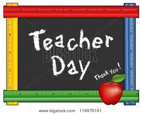 Teacher Day, Thank you! Annual American holiday on Tuesday of 1st full week of May, red apple, chalk text on blackboard with multi color ruler frame for class room and school events. stock photo