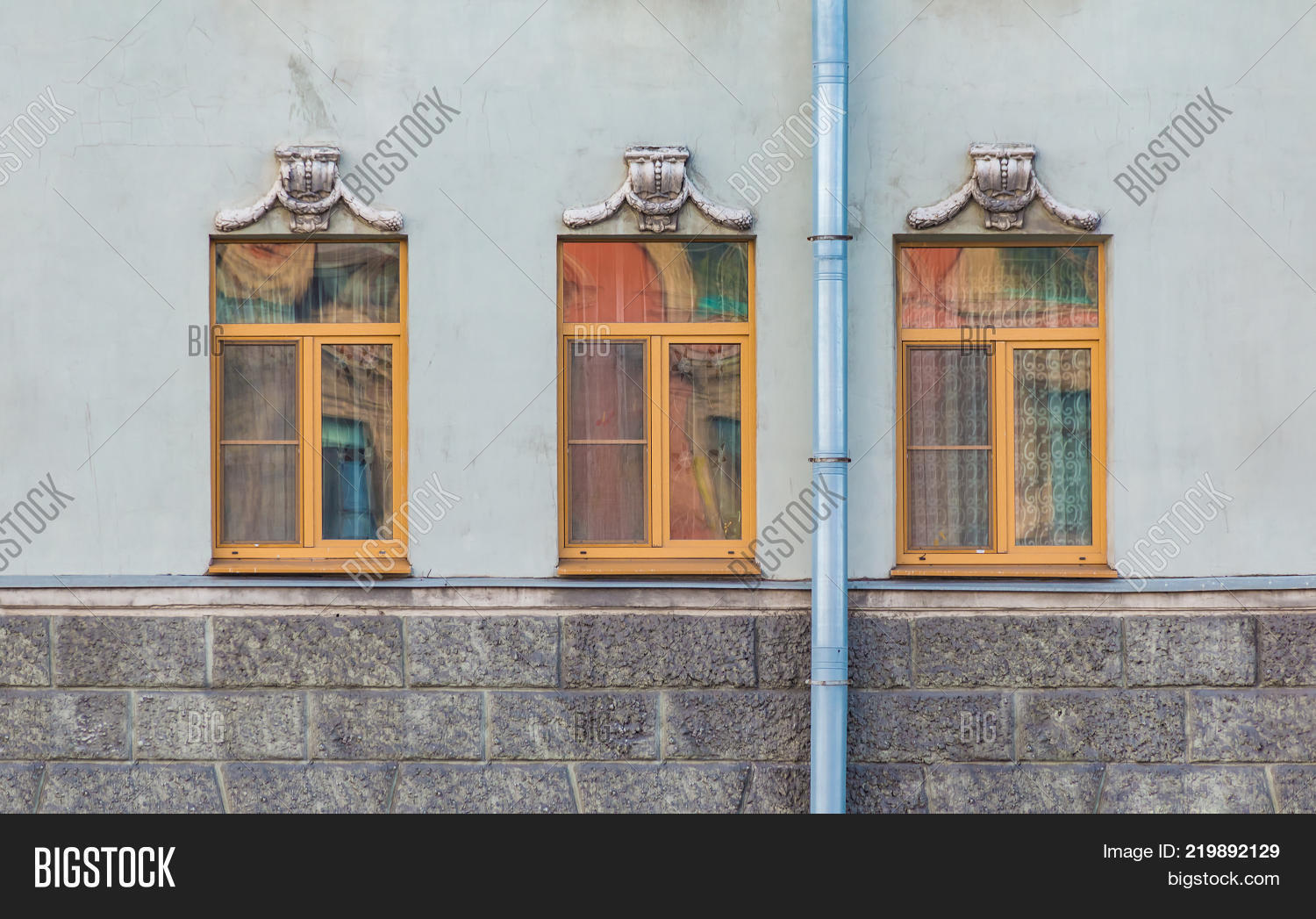 Three Windows In A Row On The 219892129 Image Stock