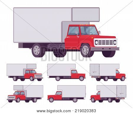 Red truck set. Large, heavy motor vehicle for transporting goods, powerful car for long distance travel. Vector flat style cartoon illustration isolated on white background, different positions stock photo