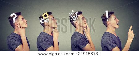 Emotional intelligence. Side view sequence of a man thoughtful thinking finding solution with gear mechanism question exclamation lightbulb symbols. Human face expression