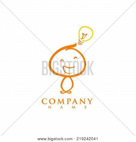 Mind logic creative logo design. Vector modern flat style cartoon character illustration icon design.Isolated on white background. Concept smart brain head. think decision human head gain knowledge stock photo