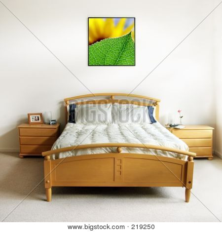 the pictures on the wall and on the nightstand are my own images stock photo