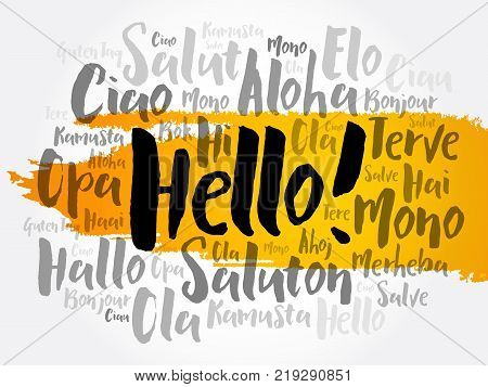 Hello word cloud in different languages of the world background concept stock photo