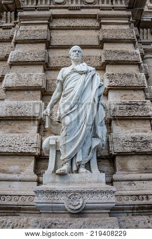Statue of a nobel Roman lawyer Papinianus in front of the Palace of Justice Rome Italy summer stock photo