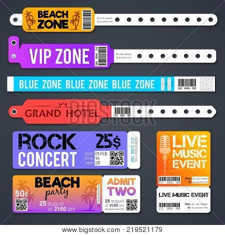 Event entrance vector bracelets and stadium zone admission tickets templates isolated. Bracelet for entry and admit to show concert illustration stock photo