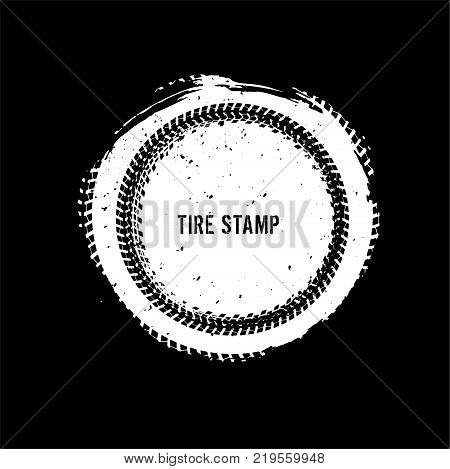 Grunge off-road post and quality stamp. Automotive element useful for banner, sign, logo, icon, label and badge design . Tire tracks textured vector illustration. stock photo