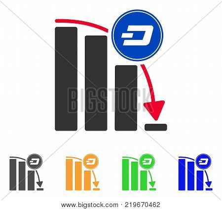 Dashcoin Epic Fail Chart icon. Vector illustration style is a flat iconic dashcoin epic fail chart symbol with grey, green, blue, yellow color versions. Designed for web and software interfaces. stock photo