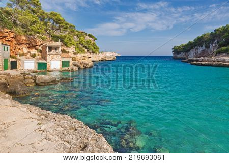 Majorca Cala Llombards Santanyi beach in Mallorca, island, Spain Mediterranean Sea, Balearic Islands. stock photo