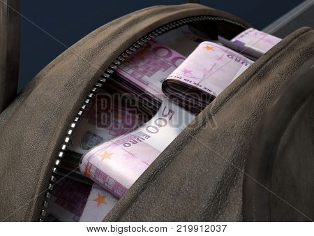 A concept depicting an open brown leather duffel bag revealing bundles of illicit rolled euro notes - 3D render stock photo