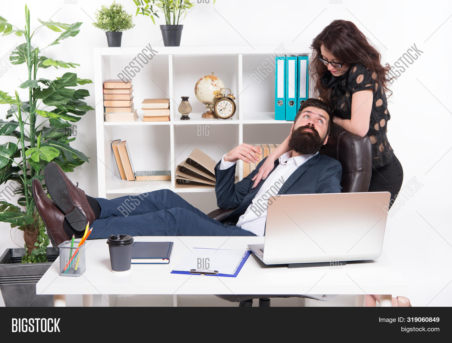 Its A Workplace Affair. Business Professionals Dating At Workplace. Workplace Romance Of Bearded Man