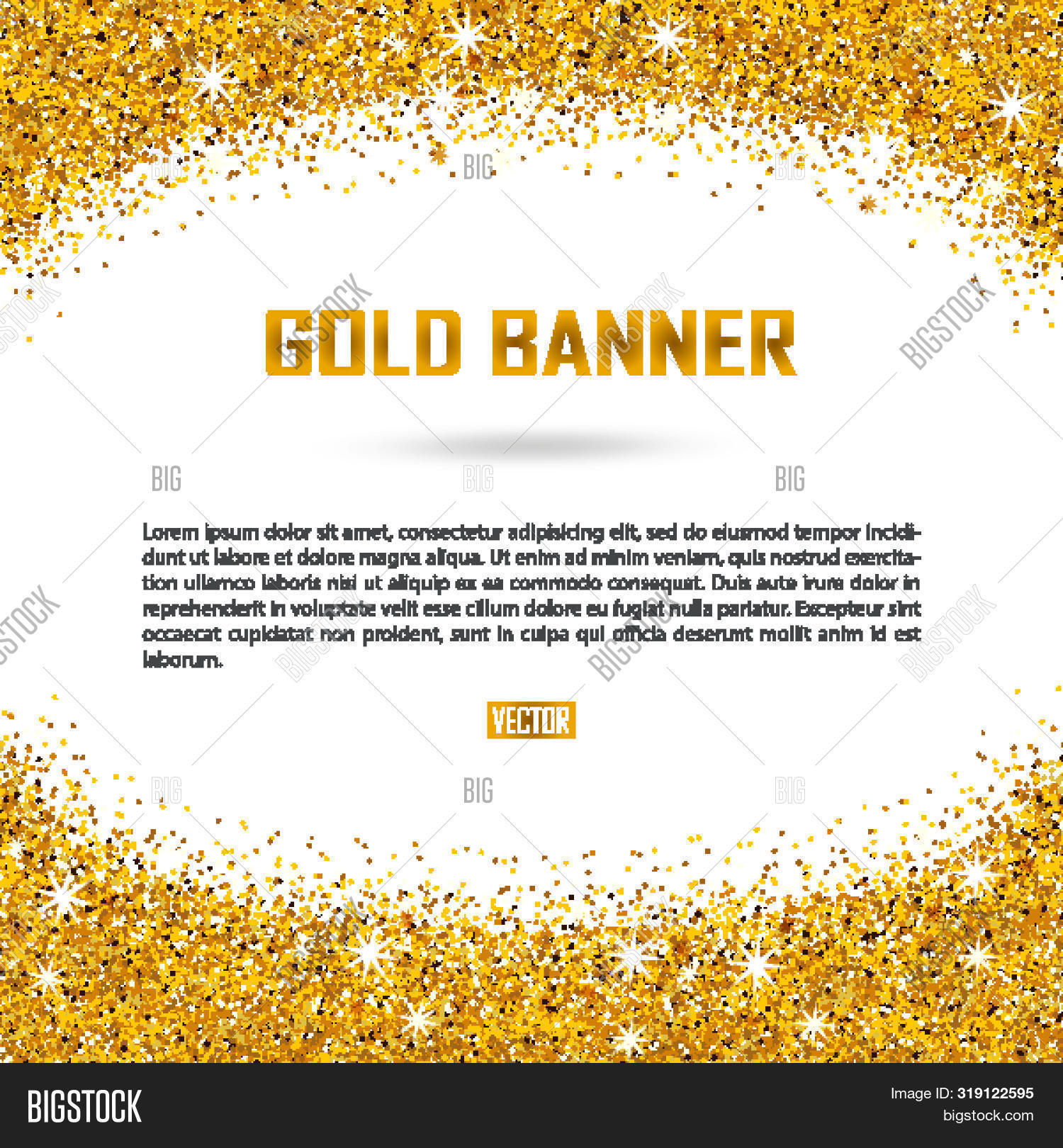 Gold Vector Banner On White Background.