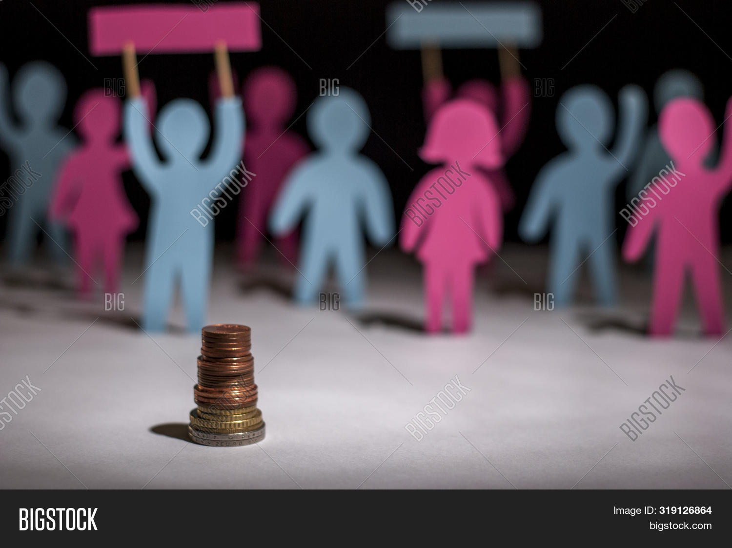 People Protest. Salary Increase Strike. Paper People, With Posters In Their Hands, On Strike For A P