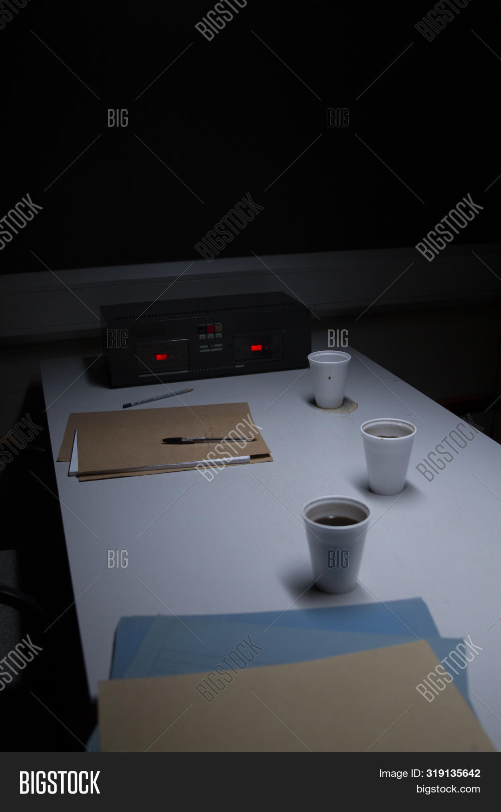 Police Station Custody Interview Room - Subdued Lighting, Intimidating
