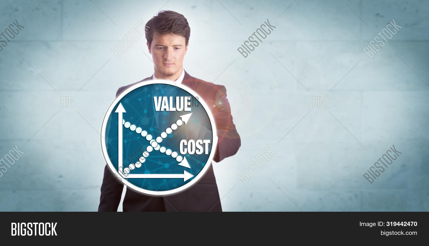 Young Businessman Touching Chart Icon Depicting Growth Of Value Versus Reduction Of Cost. Technology