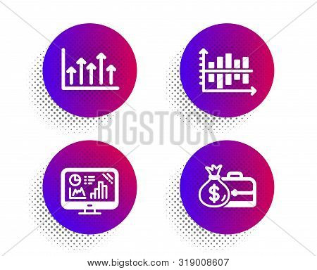 Growth chart, Analytics graph and Diagram chart icons simple set. Halftone dots button. Salary sign. Upper arrows, Growth report, Presentation graph. Diplomat with money bag. Education set. Vector stock photo